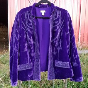 Size 2 Chico's blazer embroidered purple velvet
